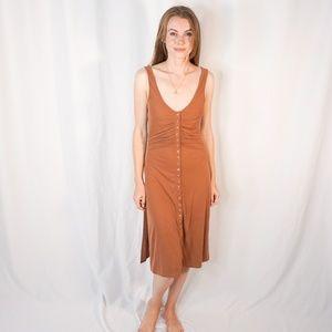 INTIMATELY Free People Rib Button Down Midi Dress